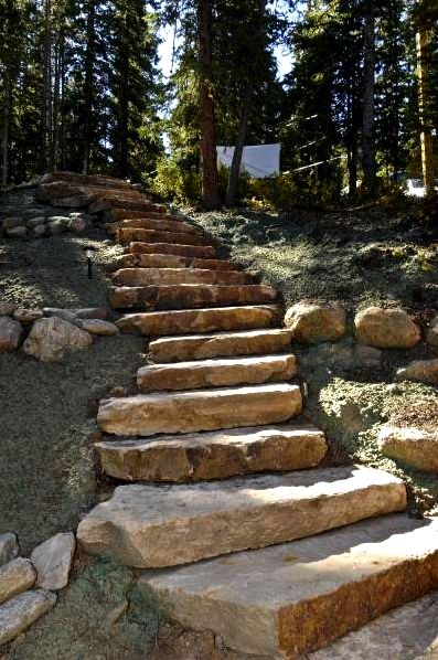 Building outside staircases from gemstone or rock normally come up with