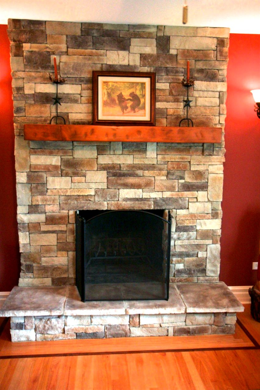 How you can use a stone-veneer hearth surround furrow within the mortar using