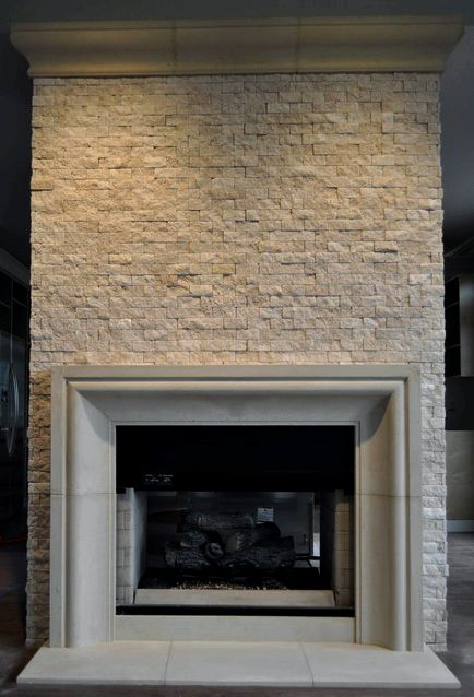 Modern fireplaces, cast stone mantels - antique fireplaces natural grooves and incises and