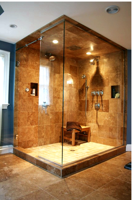 Natural stone steam shower