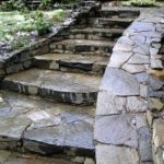 Pender style grand stone staircase and ramp – cedar plank sustainable woodwork