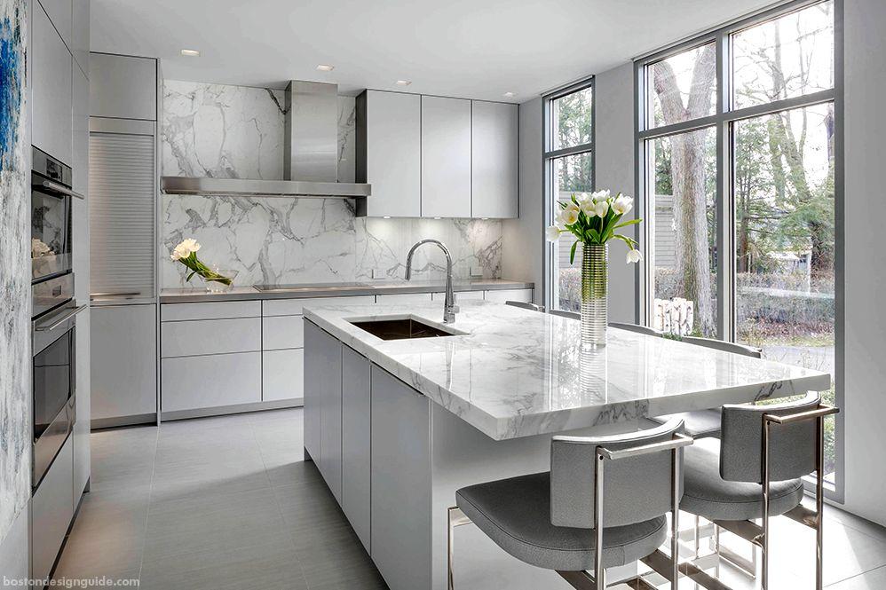 White Calcacatta kitchen marble