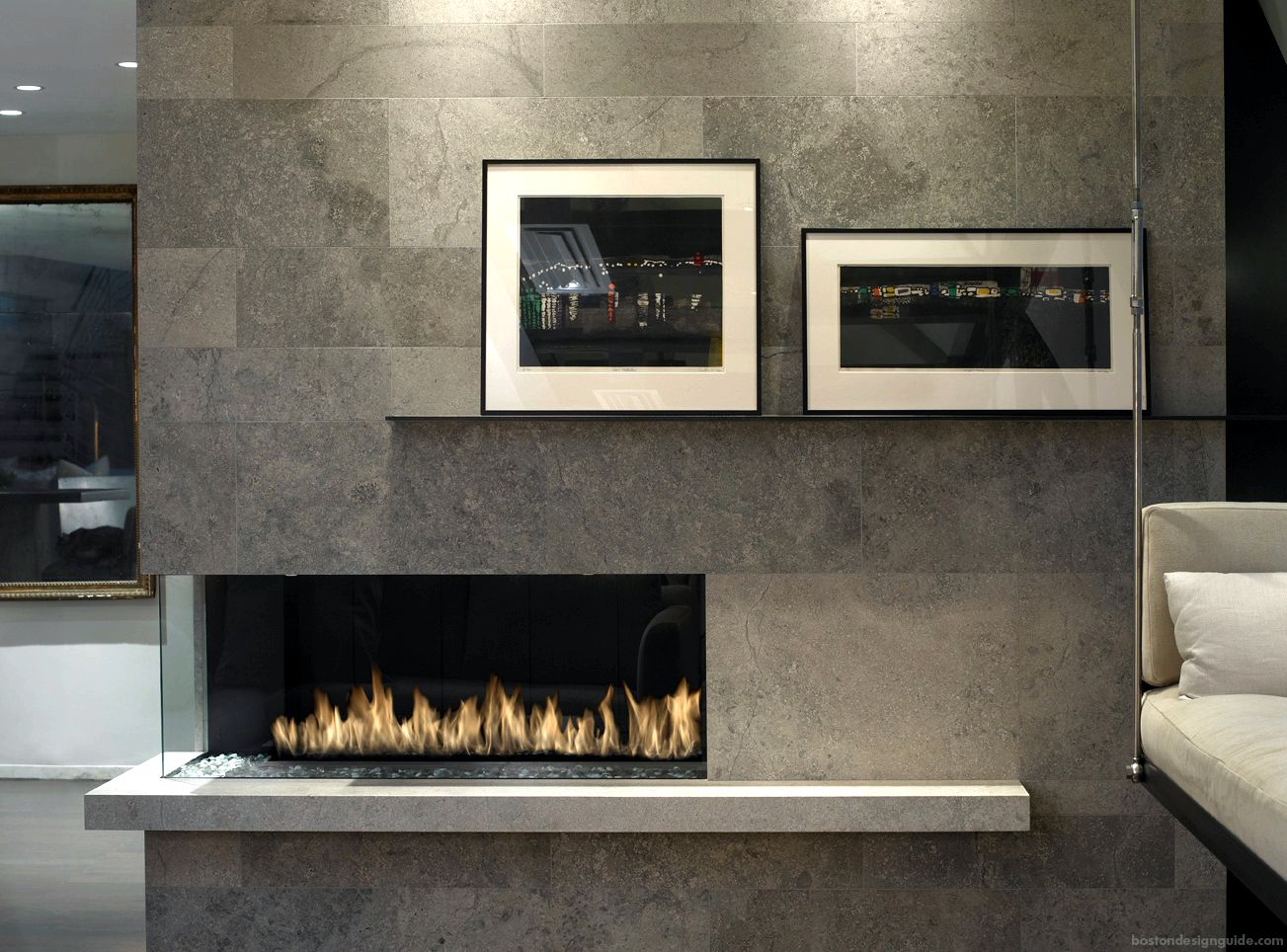 Natural stone and tile home fireplace
