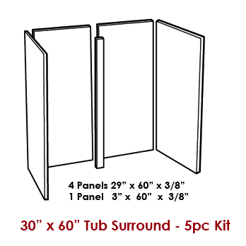 5-Piece Wall Panel Kit / Tub Surround for 30&got x 60
