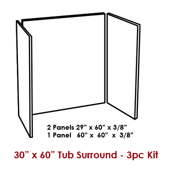 3-Piece Wall Panel Kit / Tub Surround for 30&got x 60
