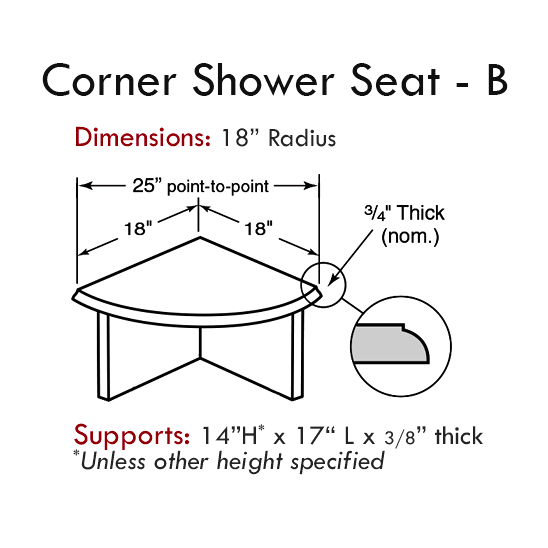 Cultured Tub & Shower Accessories: Corner Seat - Style B